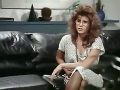 lesbian brunette reality lingerie teasing fingering wet pussylicking kissing glasses rubbing close up toys dildo strap on anal masturbation office classic vintage