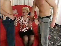 mature glasses stockings threesome blonde curvy blowjob cumshot sex amateur hardcore