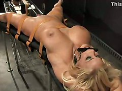 blonde bigtits bdsm fetish bondage slave machine
