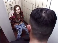 bathroom blonde german european blowjob big tits natural doggystyle tight hardcore anal pigtails reality public teen