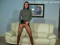 redhead solo teasing pantyhose