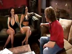 brunette threesome big tits hardcore 69 tattoo blowjob pussylicking couch riding cumshot cum swapping