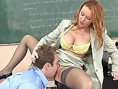 redhead  long hair  mature  in clothes  stockings  lick  pussy  close up  penetration  desk Janet Mason