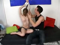danish sucking fucking spitting european small tits deepthroat face fuck gagging handjob blowjob doggystyle kissing tight teasing brunette fingering panties oil