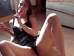 dildo smoking brunette masturbation solo fetish