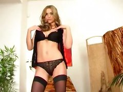 blonde bra panties stockings nylons lingerie beautiful stripping pussy masturbate petite heels thigh highs glamour