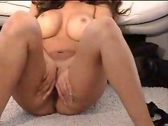 couch amateur homemade striptease brunette teasing rubbing big tits masturbation close up milf
