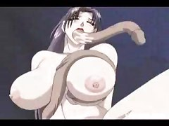 This buxom anime babe gets every hole filled while she is bound and helpess