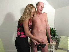 Hot Boss Girl Jerking Old Man