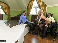 milf blonde threesome stockings blowjob interracial pussyfucking anal asstomouth doublepenetration cumshot facial
