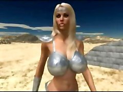 Cute animated busty princess seduces two big dicked ogres in the desert