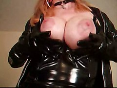 blonde boots bigtits solo latex teasing fetish insertion