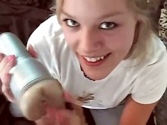 cumshot facial blonde blowjob amateur POV realamateur sextoys