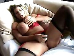 chubby milf lingerie stockings big tits dildo toys masturbation solo panties wife pornstar