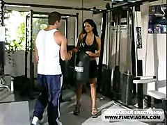 cumshot hardcore blowjob brunette bigtits pussyfucking gym