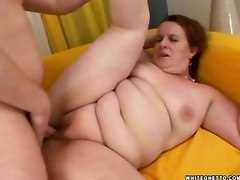 Fat redhead mom sucks and fucks her son s hot young friend
