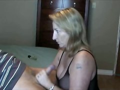 amateur homemade blowjob handjob blonde mature lingerie big tits