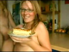 cumshot food cake blowjob blonde cum spit