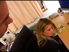 stockings cumshot hardcore blonde blowjob fingering boots pussyfucking office cumontits