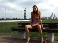 flashing public outside outdoors teen teens solo girl pussy flash small tits
