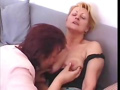 Two mature lesbians fucked young boys