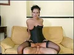 Big Titted Widow In Black Basque & Stockings Banged