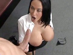 office sex big tits suck stockings boobs