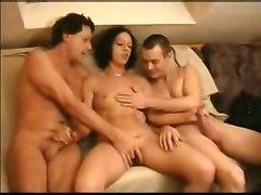 threesome cumshots blowjob small tits handjob