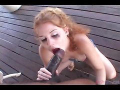 interracial big cock outdoors blowjob