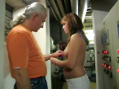brunette chubby european german handjob public rough teasing fetish