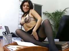 pantyhose deepthroat office nylons crotchless pornstar latina reality