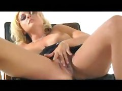 blonde squirt masturbation solo sybian machine blue eyes