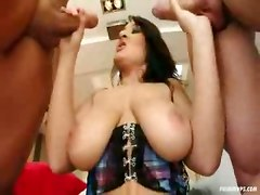threesome double penetration suck swallow big tits