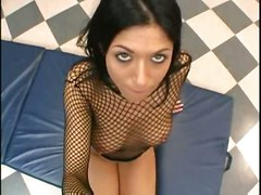 blowjob brunette tattoo throat fucking swallow high heels boots fishnet POV cocksucking cuminmouth skirt ball licking lauren longnails cockstroking