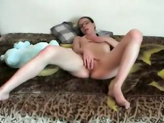 amateur girlfriend shaved fingering masturbating homemade webcam solo pussy tits bedroom brunette glasses