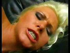 blonde trimmed fingering toy sofa masturbation solo highheels teasing skirt pinkpussy glassdildo pussyrubbing