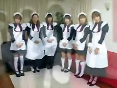 Asian costume fetish Japanese cosplay maid maids group orgy blowjob