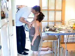 Mature Woman Giving Blowjob In The Kitchen