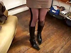 brunette glasses boots french