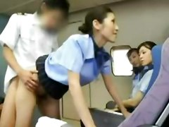 asian stewardess blowjob sex skinny airplane japanese stockings