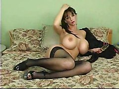 masturbation solo lingerie toys dildo stockings big tits milf piercing fingering brunette
