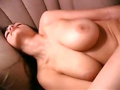 masturbation toys dildo tight ass brunette solo couch big tits orgasm natural